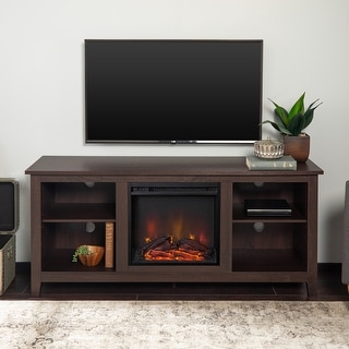 """Porch & Den Roosevelt Espresso 58 Inch Fireplace Tv Stand Pertaining To Fashionable Berene Tv Stands For Tvs Up To 58"""" (View 29 of 30)"""