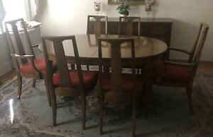 """Preferred Dining Room Table Wood 42"""" Wide Oval,6 Chairs,buffet Within Grieg 42"""" Wide Sideboards (View 27 of 30)"""