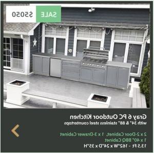 Preferred Gray 6 Pc Outdoor Kitchen: Bbq Grill Cabinet, 2 X 2 Door Regarding 3 Drawer And 2 Door Cabinet With Metal Legs (View 26 of 30)