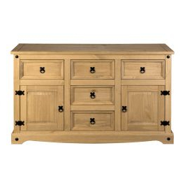 """Preferred Isra 56"""" Wide 3 Drawer Sideboards Intended For Corona Sideboard 2 Door 5 Drawer Large Mexican Solid Pine (View 7 of 30)"""