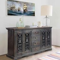 Preferred Orner Traditional Wood Sideboards With Smokey Grey Traditional Rustic Solid Wood 4 Drawer Large (View 20 of 30)