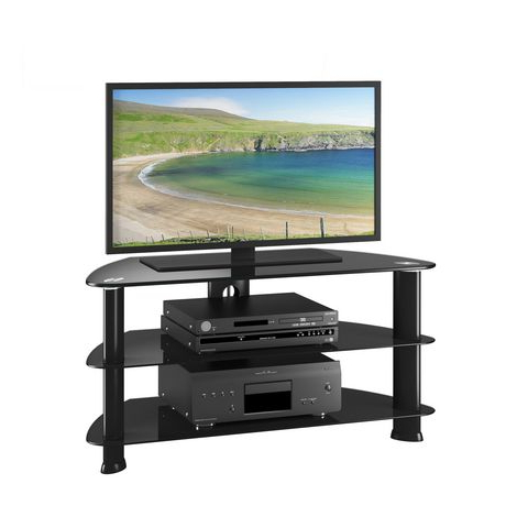 """Quillen Tv Stands For Tvs Up To 43"""" For Most Current Corliving Satin Black Glass Tv Stand, For Tvs Up To  (View 17 of 30)"""