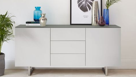 """Recent Eve Frosted Grey Glass And Matt Grey Sideboard In Heurich 59"""" Wide Buffet Tables (View 29 of 30)"""