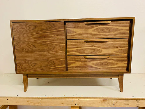 """Recent (w35) Mid Century Style Off Set Walnut Credenza – Straight Throughout Fugate 48"""" Wide 4 Drawer Credenzas (View 22 of 30)"""