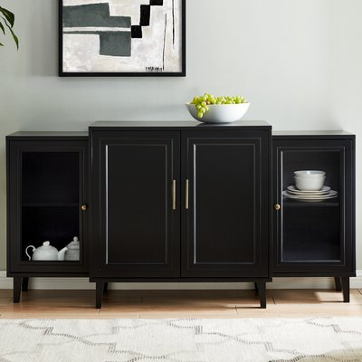 """Recent Westhoff 70"""" Wide 6 Drawer Pine Wood Sideboards Within Black Sideboards & Buffets You'll Love In  (View 15 of 30)"""
