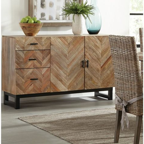 """Sandweiler 54"""" Wide 2 Drawer Sideboards For Most Up To Date Springdale 54"""" Wide 3 Drawer Mango Wood Sideboard In (View 26 of 30)"""