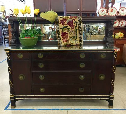 """Sandweiler 54"""" Wide 2 Drawer Sideboards In Most Recent Antique Buffet With Mirrored Top (View 16 of 30)"""