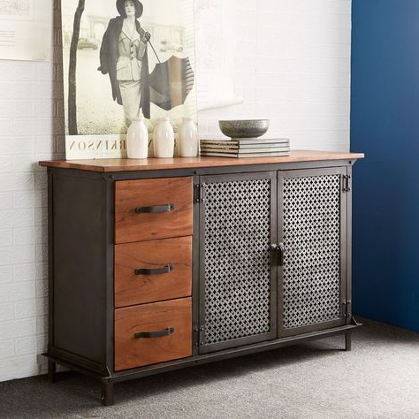 """Searsport 48"""" Wide 4 Drawer Buffet Tables Pertaining To Best And Newest Details About Industrial Style Evoke Iron / Wooden Jali (View 14 of 30)"""
