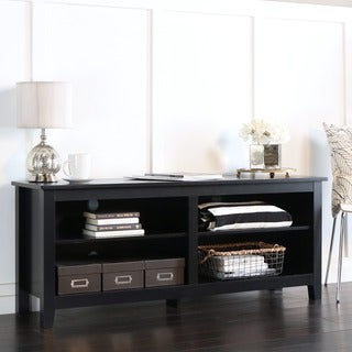 """Shop 58"""" Essential Wood Tv Stand Black – Free Shipping With Regard To Current Greggs Tv Stands For Tvs Up To 58"""" (View 8 of 30)"""