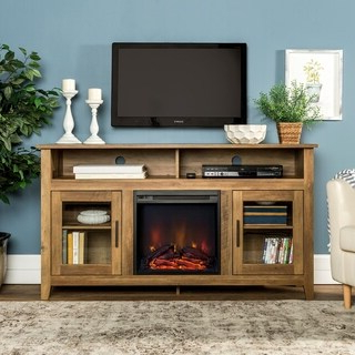 """Shop 58 Inch Wood Highboy Fireplace Tv Stand – Rustic Oak For Well Known Jace Tv Stands For Tvs Up To 58"""" (View 7 of 30)"""