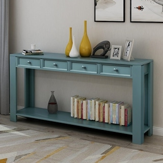 """Shop Blue 4 Drawer 60"""" Long Sofa Table Entryway Console Within Most Current Searsport 48"""" Wide 4 Drawer Buffet Tables (View 8 of 30)"""
