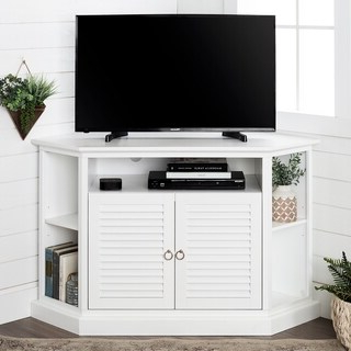 Shop White 46 Inch Corner Tv Stand & Media Console – Free Throughout Newest Blaire Solid Wood Tv Stands For Tvs Up To  (View 30 of 30)
