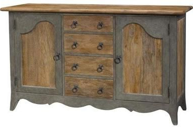 """Sideboard French Heritage Maison Foix Slate Gray Two Tone Regarding 2020 Beckenham 73"""" Wide Mango Wood Buffet Tables (View 11 of 30)"""