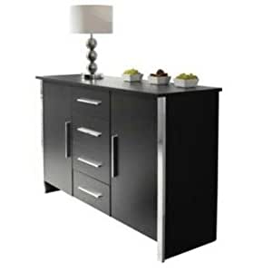 """Sideboard Or Cupboard Black Ash 4 Drawer 2 Door Chrome Throughout Latest Bruin 56"""" Wide 2 Drawer Sideboards (View 15 of 30)"""