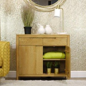 """Stockholm Oak 2 Door 2 Drawer Small Sideboard In 2020 Within Most Recently Released Orianne 55"""" Wide 2 Drawer Sideboards (View 24 of 30)"""