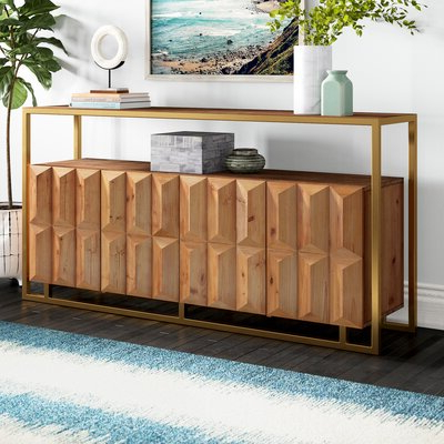 """Thame 70"""" Wide 4 Drawers Pine Wood Sideboards Pertaining To Well Known Sideboard (View 17 of 30)"""