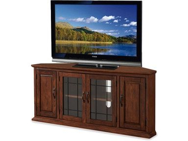 """The Burnished Oak, Leaded Glass 56"""" Tv Corner Console With Within Widely Used Alannah Tv Stands For Tvs Up To 60"""" (View 2 of 30)"""