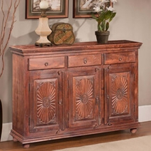 Traditional Sunburst Reclaimed Wood 3 Drawer Sideboard Cabinet Pertaining To Most Popular 3 Drawer Sideboards (View 27 of 30)