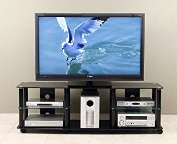 """Transdeco 65 Inch Tv Stand With Casters For 40 70 Inch Lcd In Well Liked Adrien Tv Stands For Tvs Up To 65"""" (View 9 of 30)"""
