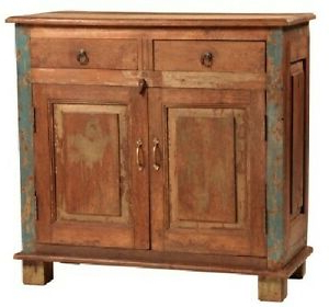 """Trendy 34"""" Long 2 Door 2 Drawer Reclaimed Solid Wood Small With Regard To  (View 6 of 30)"""