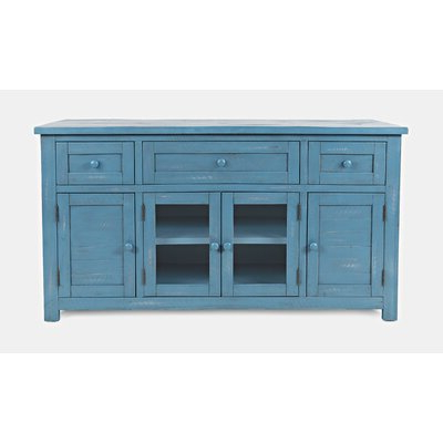 """Trendy Electra 46"""" Wide 4 Drawer Acacia Wood Buffet Tables Throughout Blue Sideboards & Buffets You'll Love In  (View 2 of 30)"""