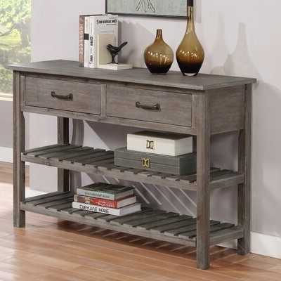 """Trendy Lorraine 48"""" Wide 2 Drawer Acacia Wood Drawer Servers Throughout Black Server Sideboards & Buffets You'll Love In  (View 15 of 30)"""
