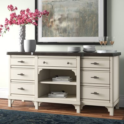 """Trendy Lorraine 48"""" Wide 2 Drawer Acacia Wood Drawer Servers With Regard To Sideboards & Buffet Tables (View 20 of 30)"""