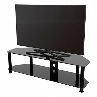 """Trendy Tv Stand Modern Black Glass Unit Up To 65"""" Inch Hd Lcd Led Regarding Bloomfield Tv Stands For Tvs Up To 65"""" (View 7 of 30)"""