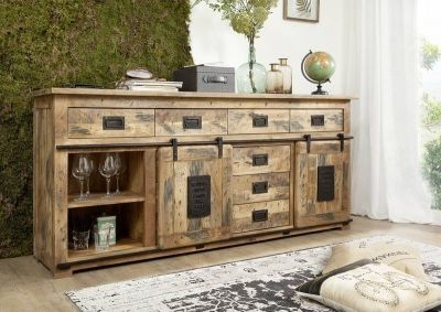 """Trendy Vitrine Mango 100x45x175 Natur Lackiert Railway #126 Intended For Strock 70"""" Wide Mango Wood Sideboards (View 19 of 30)"""