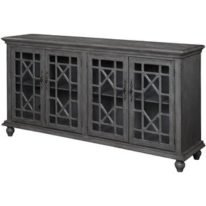 Trendy Wood Accent Sideboards Buffet Serving Storage Cabinet With 4 Framed Glass Doors With Grey Sideboards & Buffets You'll Love (View 6 of 30)