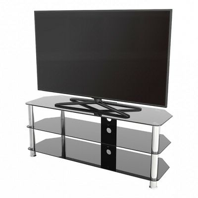 """Tv Stand Modern Black Glass Unit Up To 60"""" Inch Hd Lcd Led In Most Current Avenir Tv Stands For Tvs Up To 60"""" (View 28 of 30)"""