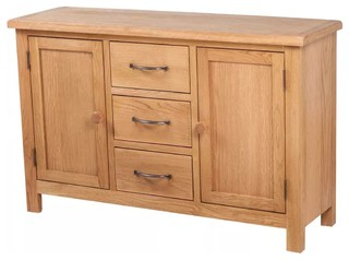 """Vidaxl Solid Oak Sideboard W/ 3 Drawers 2 Doors Side Intended For Famous Ismay 56"""" Wide 3 Drawer Sideboards (View 17 of 30)"""
