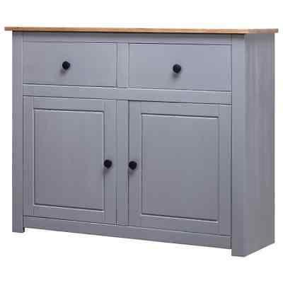 Vidaxl Solid Pine Wood Sideboard Grey 2 Drawers 2 Doors With Regard To 2020  (View 7 of 30)