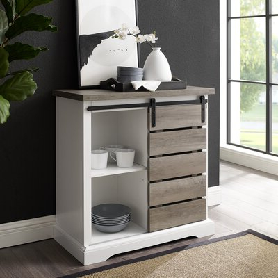 """Voight 46"""" Wide 4 Drawer Acacia Wood Drawer Servers With Widely Used Grey & White Sideboards & Buffets You'll Love In (View 6 of 24)"""