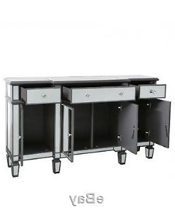 Wales Storage Sideboards Throughout Well Known Ritz Mirrored Glass Grey Trim Large Glam Sideboard Dresser (View 21 of 30)
