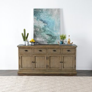 """Featured Photo of Kinston 74"""" Wide 4 Drawer Pine Wood Sideboards"""
