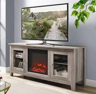 """Well Known 58"""" Wood Media Tv Stand Console With Fireplace In Grey With Labarbera Tv Stands For Tvs Up To 58"""" (View 25 of 30)"""