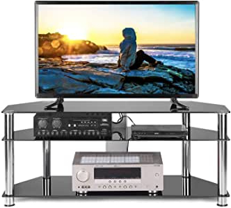 """Well Known Amazon: Tavr Black Tempered Glass Corner Tv Stand Intended For Alannah Tv Stands For Tvs Up To 60"""" (View 21 of 30)"""