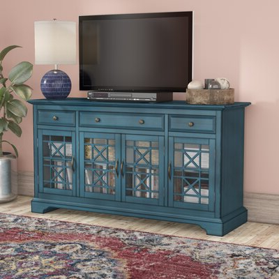 Well Known Blaire Solid Wood Tv Stands For Tvs Up To 75 Within Blue Tv Stands You'll Love In  (View 13 of 30)