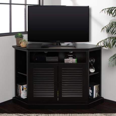 Well Known Manor Park Transitional Corner Tv Stand With Storage With Kemble Tv Stands For Tvs Up To (View 13 of 30)