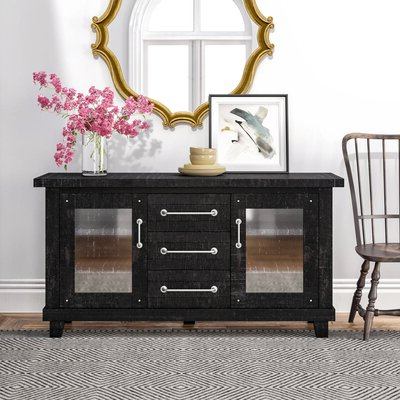 """Well Known Millstadt 52"""" Wide 3 Drawer Pine Wood Buffet Tables For Sideboards & Buffet Tables (View 7 of 30)"""