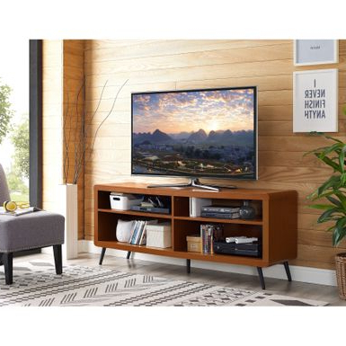 """Well Known Rent To Own 58 Inch Rounded Corner Wood Tv Stand – Acorn With Josie Tv Stands For Tvs Up To 58"""" (View 2 of 30)"""