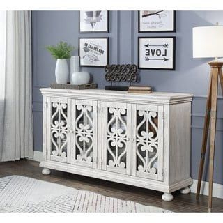 Well Known Somette Orchard Park White Rub Four Door Media Credenza Inside Park Credenzas (View 14 of 30)