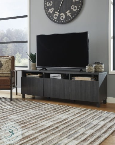 """Well Known Yarlow Black 70"""" Large Tv Stand From Ashley (View 11 of 30)"""