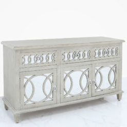Well Liked Bayside Mirrored Hampton Style 3 Door 3 Drawer Sideboard Pertaining To 3 Drawer Sideboards (View 24 of 30)