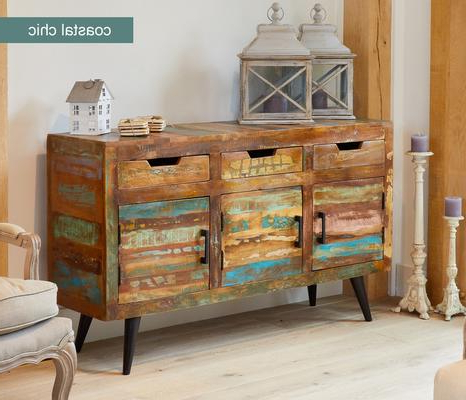 Well Liked Coastal Chic Large Sideboard 3 Drawer 3 Door Reclaimed With 3 Drawer Sideboards (View 12 of 30)