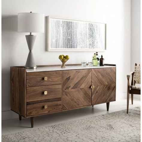 """Well Liked Cora Rose 62.9"""" Wide 3 Drawer Acacia Wood Sideboard In Within Cora Rose  (View 15 of 26)"""
