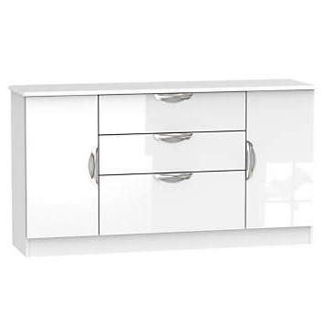 """Well Liked Lambeth Assembled Wide High Gloss 2 Door / 3 Drawer Within Sandweiler 54"""" Wide 2 Drawer Sideboards (View 17 of 30)"""