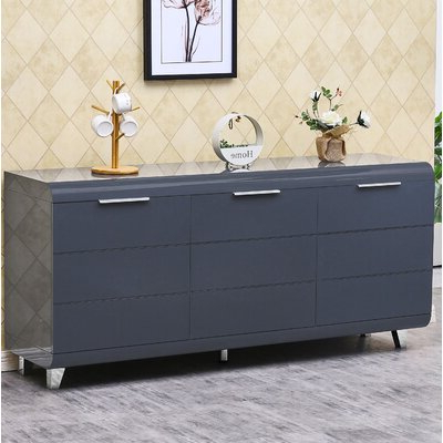 """Westhoff 60"""" Wide 6 Drawer Pine Wood Credenzas Intended For Most Recent Lacquer Sideboard (View 22 of 30)"""