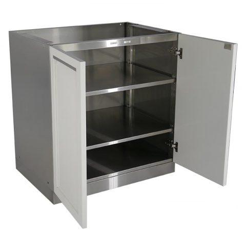 White 7 Pc Outdoor Kitchen Set: 2 Door Cabinet, 3 Drawer Regarding Current 3 Drawer And 2 Door Cabinet With Metal Legs (View 12 of 30)